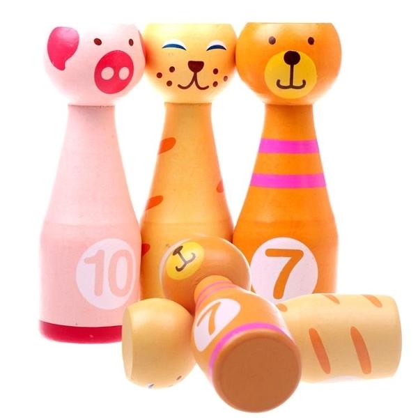 親子玩具 大號兒童木制動物數字保齡球親子互動游戲 寶寶健身運動益智玩具   雙十二全館免運