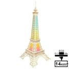 大巴黎鐵塔炫彩燈(A組) 3D木制模型 立體拼圖拼板鐳射【新年特惠】