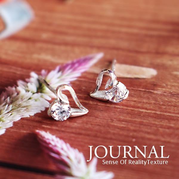 925純銀 悠美愛心鋯石 針式耳環_質物日誌Journal