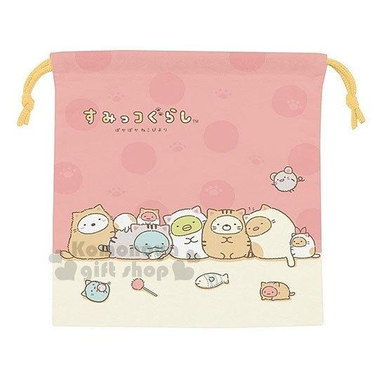 〔小禮堂〕角落生物 棉質束口袋《粉黃.變裝.貓咪》縮口袋.收納袋 4973307-40195