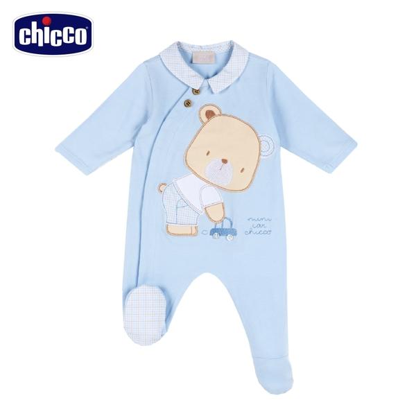 chicco-駕駛小熊-格紋領前側開長袖兔裝