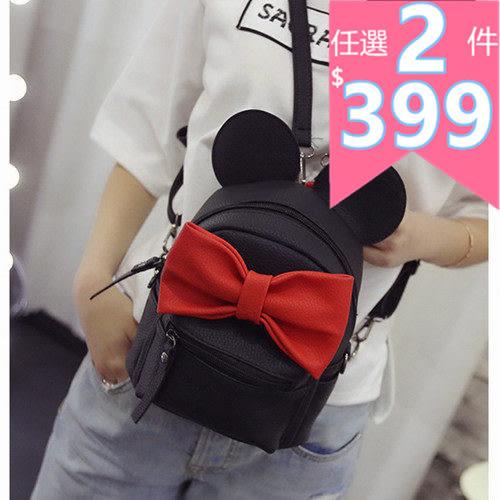 後背包 新款韓版大蝴蝶結後背、側背雙用小包 -bin6688 -寶來小舖-現貨販售