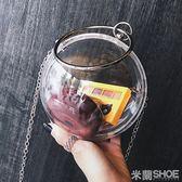 側背包 圓球透明夏季同款手提包圓形鏈條斜跨包晚宴包女
