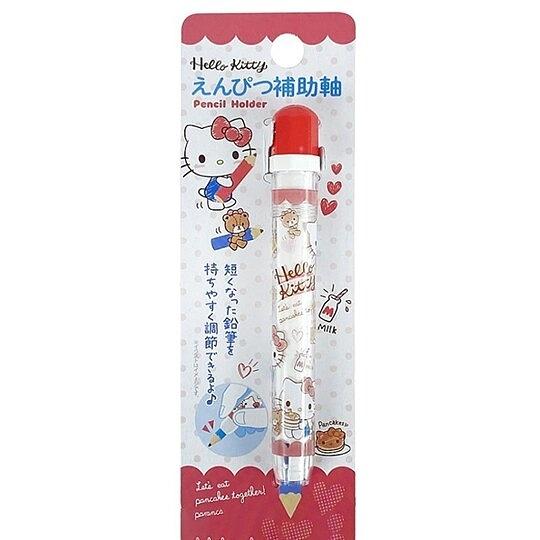 小禮堂 Hello Kitty 鉛筆輔助軸 鉛筆延長器 鉛筆加長 (紅 鬆餅) 4573135-58826