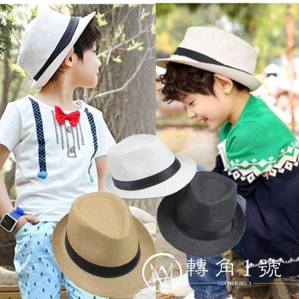 兒童爵士帽潮寶寶帽子草編禮帽男童遮陽帽草帽女夏天的小涼帽包郵