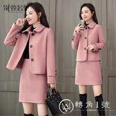 秋冬季套裝裙女時尚兩件套2018新款小香風毛呢短裙職業時髦洋氣潮