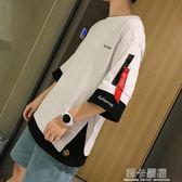 夏季Ins五分袖T恤男短袖韓版潮寬鬆嘻哈半截袖潮牌5分上衣Ulzzang  莉卡嚴選