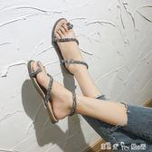 歐美氣質性感蛇形纏繞亮片套趾涼鞋夏季羅馬風夾腳平底女涼鞋百搭 潔思米