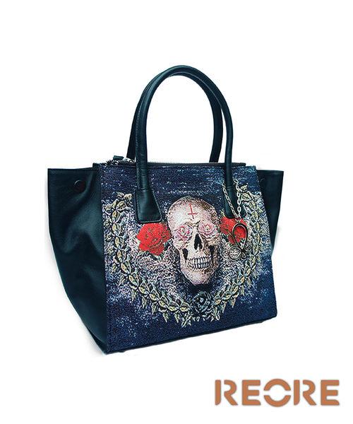 手提包-龐克骷髏織畫緹花拼接牛皮手提包 黑-REORE