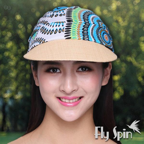 防曬帽子-女款時尚民族風花布拉菲草編淑女遮陽空心帽網球帽15SS-V005B FLY SPIN