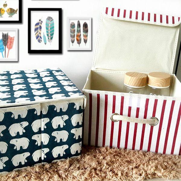 收納盒 【BNA032】可愛布藝圖騰棉麻收納箱(9L) 刺蝟 鯨魚 文具 收納箱  123ok