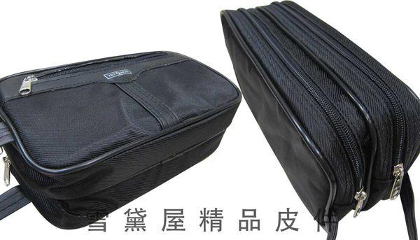 ~雪黛屋~YETQACH 手拿包台灣製造二層拉鍊式主袋口隨身物品夾包防水尼龍布材質隨身物品防扒竊#2001