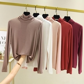 莫代爾堆堆領打底衫高領T恤女長袖薄款大碼胖mm內搭純色上衣 - 歐美韓熱銷