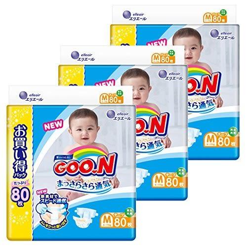 日本 大王製紙 境內版 增量 黏貼型 尿布 80片 (M)*3包【5029】(限宅配)
