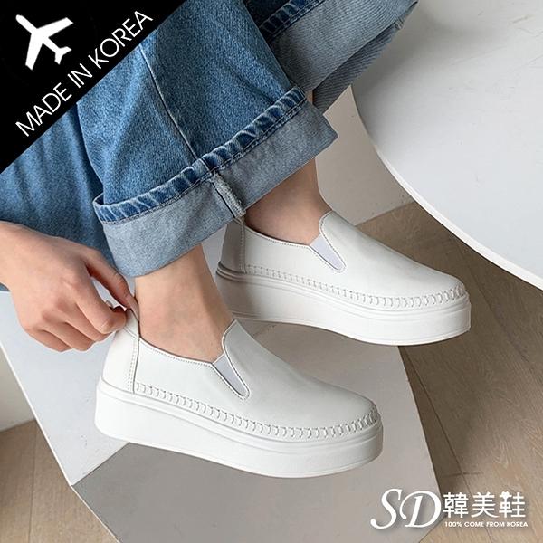 韓國空運 正韓製 嚴選質感皮革 手工馬克線 4cm厚底懶人鞋【F713224】版型偏小 / SD韓美鞋
