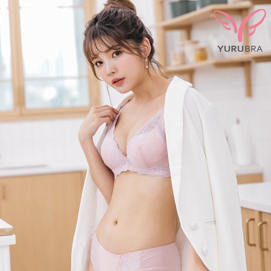【Yurubra】嗜甜熱吻內衣。A.B.C罩 小胸 軟鋼圈 低脊心 透氣 集中 台灣製。※0603粉