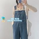 背帶褲女韓版寬鬆寬版時尚可愛日系小個子學生百搭直筒牛仔褲【風之海】