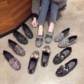 豆豆鞋網紅水鉆社會女單鞋2019春季新款韓版蝴蝶結一腳蹬豆豆鞋淺口瓢鞋 電購3C