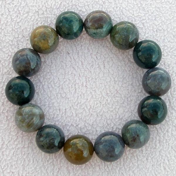 【歡喜心珠寶】【天然印度七彩玉圓珠手鍊】14.5mm14顆「附保証書」開啟內心真正的快樂寶石