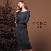 東京著衣【KODZ】歐美爆款顯瘦美背立體織紋針織洋裝-S.M.L(172366)