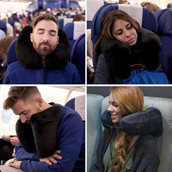 U型枕旅行枕充氣頸椎枕 便攜吹氣枕飛機旅游護頸枕脖子u形枕頭