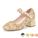 女童高跟皮鞋禮服水晶走秀鋼琴表演出公主兒童鞋春秋季【淘嘟嘟】