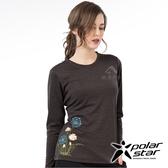 PolarStar 女 麻花吸排圓領長袖衣『黑色』 P19256 T恤 上衣 女版 休閒 戶外 登山 印花