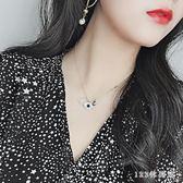 女士項鍊S925純銀惡魔之眼項鍊女短款鎖骨鍊韓版時尚學生水晶吊墜飾品 LH6124【123休閒館】