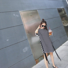 針織棉寬鬆慵懶感黑白條紋側緞帶大牌長版T恤短洋裝  (M7SS) 11750048