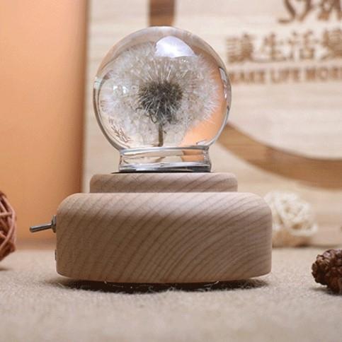 永生花 音樂盒木質八音盒蒲公英永生花水晶球生日禮物女生結婚送朋友聖誕 8號店WJ