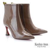 ★2019秋冬★Keeley Ann極簡魅力 漆皮時尚喇叭造型跟短靴(可可色) -Ann系列