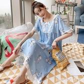 可愛睡衣女夏季睡裙薄款棉質子女夏天韓版甜美家居服公主風中長款 LR20777『3C環球數位館』