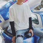 港風秋裝新款假兩件修身長袖T恤 韓版潮男打底衫街頭學生圓領體  西城故事