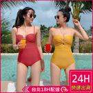 【現貨】梨卡 - 火辣性感[有胸墊+顯瘦挖洞]三角遮肚連身溫泉連身泳衣連身泳裝CR505