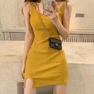 洋裝 2021夏季新款氣質性感吊帶連衣裙女修身顯瘦包臀輕熟風針織背心裙 歐歐