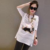 夏季女裝歐美竹節棉麻寬松大碼顯瘦中袖衫中長款白色T恤女裙上衣