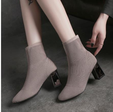 針織時尚瘦瘦短靴方頭粗跟彈力襪靴2021秋季新款中筒單靴高跟鞋女 3C數位百貨