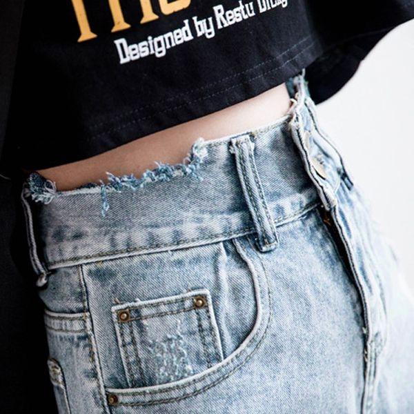 MIUSTAR 極高腰!長腿歐膩雙釦刷破水洗牛仔短褲(共1色,S-XL)【NH0876】預購