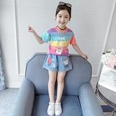 女童套裝 夏2021新款夏裝洋氣童裝女孩夏季衣服兒童中大童兩件套潮【快速出貨】