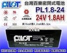 【久大電池】 PILOT 百樂電池 PL1.8-24 24V1.8AH (Pin) 受信總機 消防設備 保全 醫療 儀器