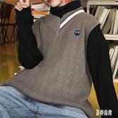 V領無袖針織背心 秋冬學院風女馬甲秋冬學生坎肩毛衣 BF17593『男神港灣』