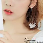 耳環 現貨 韓國浪漫仙女立體花朵珍珠流蘇耳針 夾式耳環 S92951 批發價 Danica 韓系飾品 韓國連線