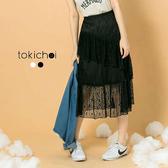 東京著衣-tokicho-韓系唯美不對稱蕾絲荷葉長裙-S.M(171342)