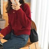 針織開衫 韓版素色軟糯短款溫柔打底內搭針織寬鬆慵懶風外穿開衫毛衣外套女 嬡孕哺