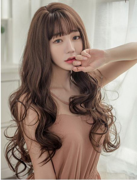 *╮Kinkee假髮╭*韓系高仿真 大旁分 空氣瀏海 自由分線 長捲髮 假髮【C8195R】