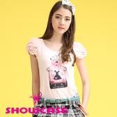 【SHOWCASE】甜美蝴蝶鈕結袖 香水瓶棉質T恤(粉)