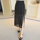 半身裙     雪紡側開叉款高腰中長款包裙顯瘦學生一步裙