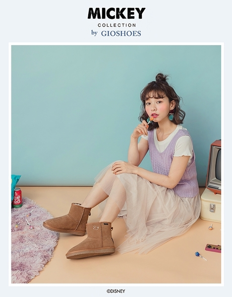 DISNEY 俏皮甜調 米奇飾釦短筒雪靴-棕