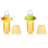 【佳兒園婦幼館】Kidsme  咬咬樂輔食器-擠壓式-圓孔-黃綠/橙黃