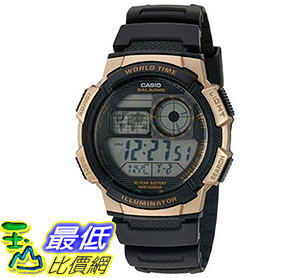 [美國直購] 手錶 Casio Men s Quartz Stainless Steel and Resin Automatic Watch, Color:Black (AE-1000W-1A3VCF)